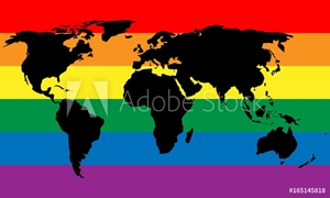 Bild på Black world map silhouette on LGBT rainbow pride flag background. Lesbian, gay, bisexual, and transgender stylish design element. Simple flat vector illustration.